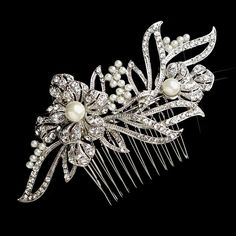 Pave Floral Rhinestone and Pearl Bridal Hair Comb - from T's Studio Jewelry