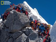 National Geographic and The North Face in Everest Expedition, saw how the mountain has become an icon for everything that's wrong with climbing. Monte Everest, National Geographic, Climbing Everest, Himalaya, Tourist Trap, Mountain Climbing, Stonehenge, Top Of The World, Extreme Sports