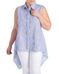 Women's Plus Size Stripe Linen Button Front Shirt