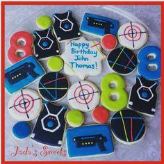 "Jada's Sweets on Instagram: ""Laser tag cookies for John Thomas! #jadassweets #roundrockcookies #lasertag #lasertagcookies"""