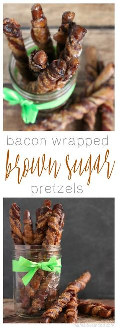 Bacon Wrapped Pretzels are the perfect treat for gifting and eating! Bacon Wrapped Pretzels are simple to make and a great welcome neighbor gift. Bacon Recipes, Appetizer Recipes, Snack Recipes, Dessert Recipes, Cooking Recipes, Baking Desserts, Recipes Dinner, Potato Recipes, Dessert Ideas