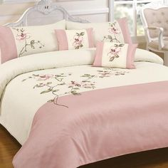 Yeah I bought this :D Laura Pink Embroidered Duvet and Pillowcase set White Duvet Covers, Bed Covers, Duvet Cover Sets, Bed Cover Design, Pink Bedrooms, Embroidered Pillowcases, Cool Curtains, Diy Bed, Bed Spreads