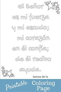 My sponsored child shared this verse with me so I made it into a coloring page. I created this one in Spanish.