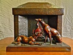 1920'2 Art Nouveau BRONZE 'Fireplace Dogs' Statue  CROYDON VIC