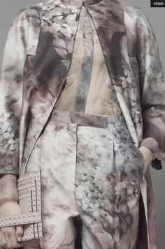 Sheer shirt + jacket & trousers with soft floral print; romantic flower printed fashion // Valentino