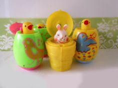 Vintage Plastic Easter Toys Lot Bunny Baby Chicks Decoration East Eggs