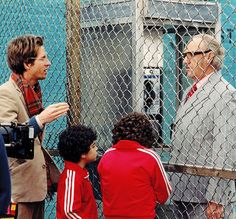 Wes Anderson and Gene Hackman behind the scenes of The Royal Tenenbaums (2001)