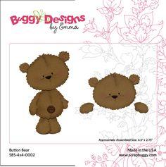 Adorable Button Bear by Scrapbuggy! Felt Crafts, Paper Crafts, Peachy Keen Stamps, Baby Teddy Bear, Bear Card, Bear Birthday, Love Bear, Marianne Design, Animal Cards
