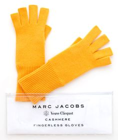 Marc Jacobs x Veuve Clicquot Cashmere Fingerless Gloves.special champagne drinking gloves for chilly nights. Veuve Cliquot, Champagne, Good Day Sunshine, Cashmere Gloves, Hurricane Sandy, Yoga Fashion, Material Girls, Designer Collection, My Favorite Color