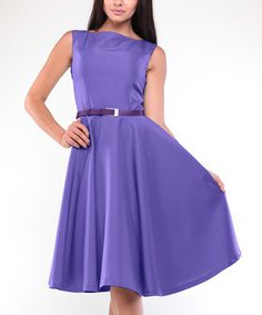 Another great find on #zulily! Lilac Belted Sleeveless A-Line Dress - Plus Too #zulilyfinds