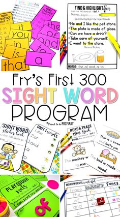 A sight word program for teaching kindergarten and primary kids the first 300 Fry's sight words. It includes tons of sight word materials, sight word lists, hands-on activities, and printable worksheets to teach all 300 sight words in weekly units. Activities for literacy centers such as sight word bracelets, word work stamping, sight word books, and playdough mats are included. #proudtobeprimary