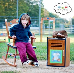 Fantasy Fields - Lil' Sports Fan Rocking chair & Cabinet Storage   #fantasyfields #kids #furniture #kidsfurniture #themedfurniture #chair #storage #organizing #decor #homestyle #themedroom #sports #baseball #allstar