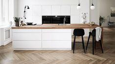 Opplev Mano: Håndtaksfritt, hvitt kjøkken i kul dansk design Wooden Kitchen, New Kitchen, Kitchen Decor, Kitchen Design, Kitchen White, Scandinavian Kitchen, Kitchen Collection, Home Kitchens, Interior Decorating
