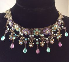 Fabulous Signed 'Michal Negrin' Victorian Style Pendant Drop Necklace