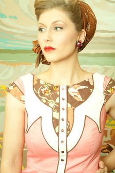 The Dale Dress - Coral - Western Rodeo Cowgirl Pinup Dress.