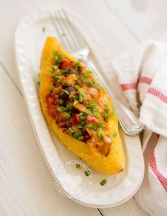 Ripe Plantain Boats (Canoas) with Eggplants - Recipe & Video: Traditionally made by frying the plantains, this is the lighter version, it's also vegetarian dish.
