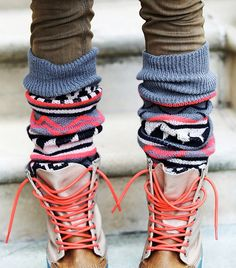 Chunky patterned socks and lace-up combat boots // Free People Loveland Thigh Hi Legwarmers