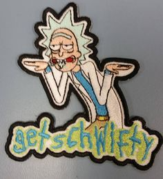 82e5f94468d7a9 Get Schwifty Embroidered Patch Cartoon Scientist Iron On Pin And Patches