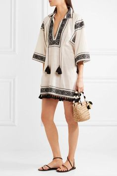 Talitha - Embroidered Cotton Tunic - White -