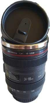Camera lens mug - This unusual item is a great quality travel mug with stainless…