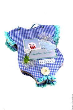 Купить фотоальбом Боди Мальчик на 70 фото для новорожденного - голубой, клетка ткань, фотоальбом боди