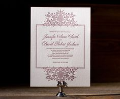 Regal swirls and flourishes atop a letterpress frame crown wedding invitation beauty with Tasha from Aimee O'Boyle.