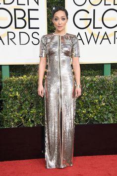 Ruth Negga in custom Louis Vuitton at the Golden Globes 2017 Red Carpet Arrivals