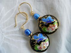 Cloisonne Earrings with Freshwater Pearls Holiday by JoJosgems