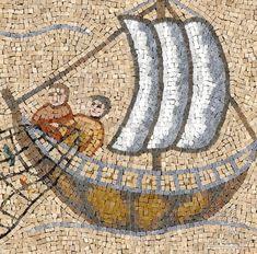 Roman mosaic - African fisherman and boat