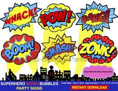 Large Superhero Word Bubbles. Fun for party decorations, centerpieces and photo booth props.