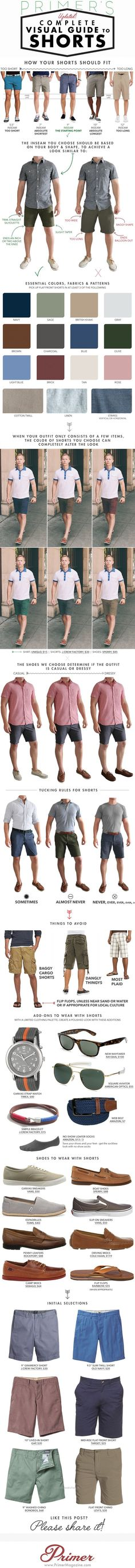 Stay cool and look smart this summer with our complete visual guide for all things shorts, covering fit and fabric to shoes and accessories. Like the Clif notes guide to men's summer fashion. Mode Outfits, Fashion Outfits, Fashion Tips, Fashion Trends, Style Fashion, Fashion Clothes, Fashion Ideas, Fashion Check, Swag Fashion