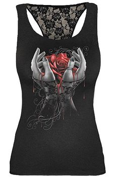 Hands of Sorrow Lace Racer Back Vest by Spiral Direct