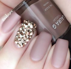 nude ~ matte ~ bling nails ✿⊱╮