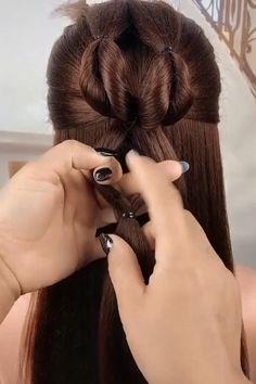 Bun Hairstyles For Long Hair, Step By Step Hairstyles, Girl Hairstyles, Front Hair Styles, Medium Hair Styles, Natural Hair Styles, Hair Videos, Hairstyle Tutorials, Hair Designs