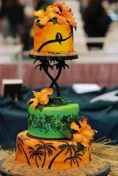 Sunset wed cake