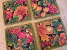 Quilted Fabric Coasters Autumn Leaves Set by MoonDanceTextiles