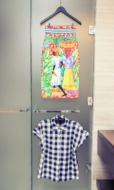 Rainbow colored clothing. http://www.thecoveteur.com/stella-jean-designer/