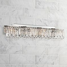Possini euro crystal strand 25 34 wide chrome bath light possini euro design hanging crystal 33 34 wide bath light aloadofball Gallery