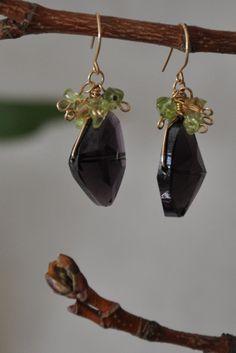 Ladies Earrings Peridot Crystal earrings 14k gold by JunrylGems