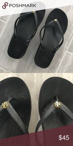 "Tory Burch Wedge Flip Flops Pretty good condition! Classic, water-ready rubber flip-flop with signature double ""T"" medallion on the center of thong strap. 1 1/2"" wedge heel. ❤️ Tory Burch Shoes Sandals"