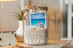 One beach essential you can make with a Cricut is a beach memory jar