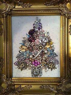 Framed Vintage Jewelry Art Christmas Tree of Life Roses Pearls | eBay