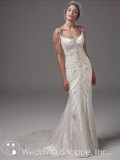 Sottero and Midgley Dominique | Bridal Gown unique bridal gown | gatsby wedding dress | beaded wedding dress | wedding dress with straps | fitted gown |