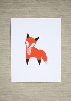 """January Fox Indie Print 19.99 at shopruche.com. Sweet and inviting, this charming fox print by artist Stacie Bloomfield will brighten any nursery of children's room. Fine art print.8.5"""" x 11"""", By Gingiber"""
