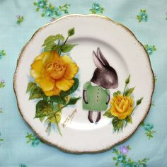 Shy Bunny With Yellow Roses Stunning Vintage Illustrated Plate