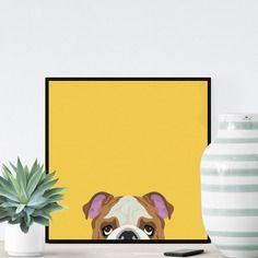 Chien bulldog sur fond jaune - 23x23cm