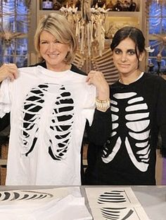 DIY Skeleton Bones T-shirt  ~ A few strategic cuts transform a simple white T-shirt into a skeleton-inspired Halloween costume... fun for all ages!