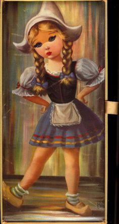 1960s BIG EYE Dutch girl Satin Jewelry Box