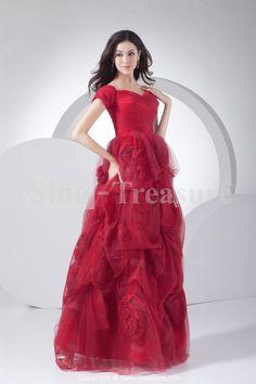 Red A-Line Floor-Length Short Sleeves Satin Handmade Flowers Evening Dresses