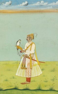 A MUGHAL FALCONER   RAJASTHAN, INDIA, SECOND HALF 19TH CENTURY   Opaque pigments and gold on paper, depicted standing and facing left, the falcon on his gloved hand, with high skyline, with yellow and red borders, inscribed in pencil with a line of devanagari script along the lower border, mounted, framed and glazed, in good condition  9 7/8 x 6¾in. (25.1 x 17.3cm.)